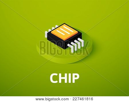 Chip Icon, Vector Symbol In Flat Isometric Style Isolated On Color Background