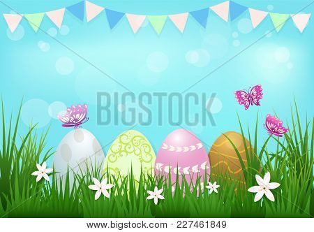 Eggs With Flag And Butterflies Easter Day Background