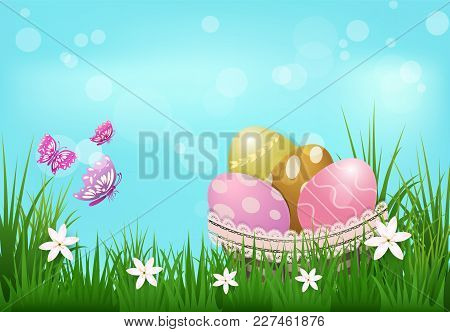 Eggs In The Basket With Flower And Butterflies Easter Day Background