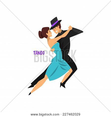 Professional Dancer Couple Dancing Tango, Pair Of Young Man And Woman Dressed In Elegant Clothing Pe