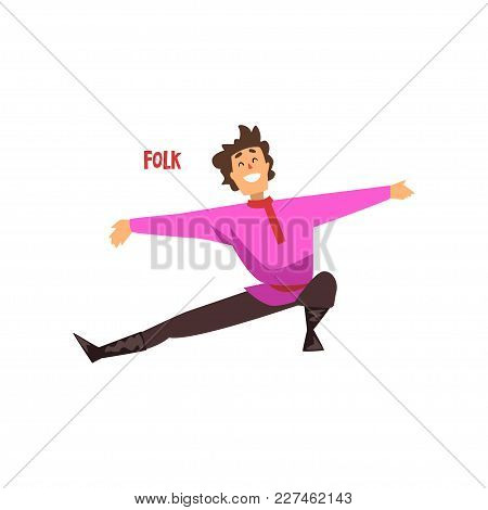 Young Man Dancing Folk Dance Vector Illustration Isolated On A White Background.