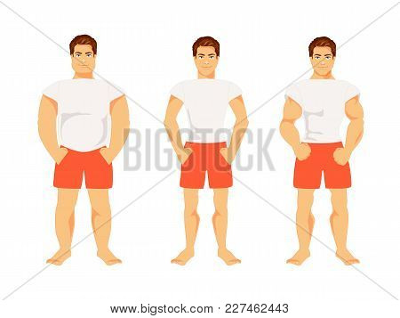 Set Of Types Of Male Figures Isolated On White Background. Body Shape. Vector Illustration