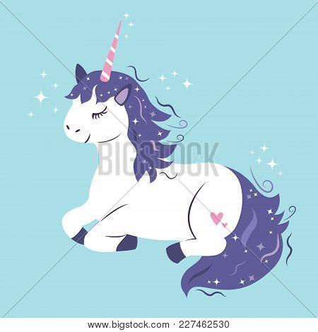 Vector Magic  Illustration Of Cute Dreaming Unicorn