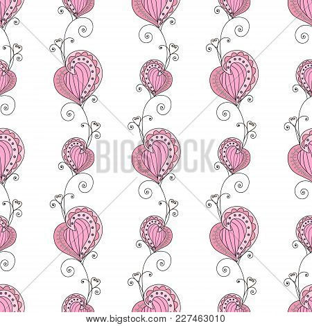 Romantic Seamless Pattern With Hearts. Vector Illustration, Endless Texture. Cute And Fancy Backgrou
