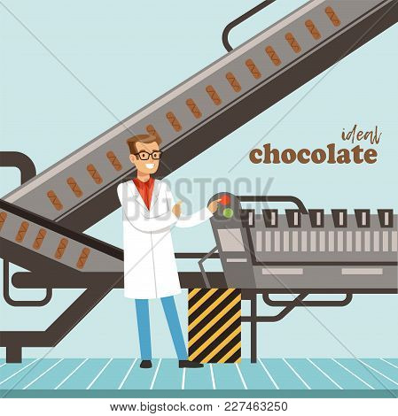 Hocolate Factory Production Line, Male Controller Controlling The Production Process Vector Illustra