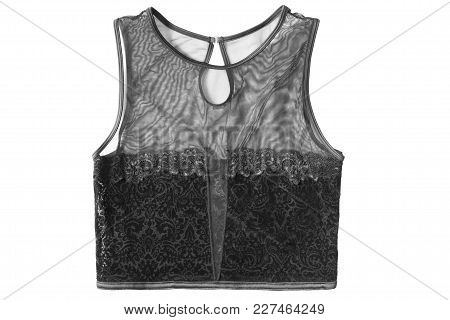 Black Net And Lacy Sleeveless Crop Top Isolated Over White