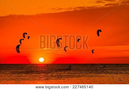 Kite-surfing Against A Beautiful Sunset. Many Silhouettes Of Kites In The Sky. Holidays On Nature. A