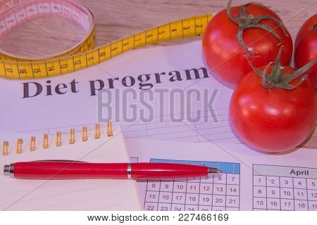 Vegetarian Fruit Diet. Products With Low Fat Content. Fruits And Vitamins With Measuring Tape