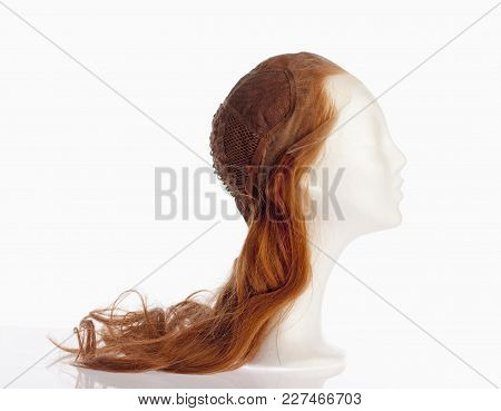 Mannequin Female Head With Foundation Of Wig On Top