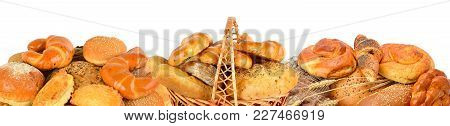 Bread And Bakery Products Isolated On White Background. Panoramic Collage. Wide Photo With Free Spac