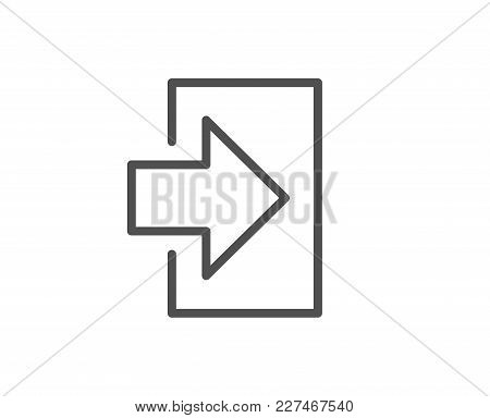 Login Arrow Line Icon. Sign In Symbol. Navigation Pointer. Quality Design Element. Editable Stroke.
