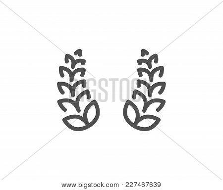 Laurel Wreath Line Icon. Reward Symbol. Winner Award Sign. Quality Design Element. Editable Stroke.
