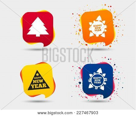 Happy New Year Icon. Christmas Trees Signs. World Globe Symbol. Speech Bubbles Or Chat Symbols. Colo