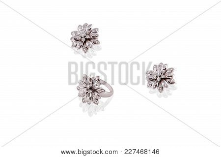 Platinum Precious Earrings Ring Flower Female With Diamonds On White Isolated Background.