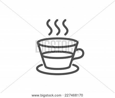 Coffee And Tea Line Icon. Hot Drink Sign. Fresh Beverage Symbol. Quality Design Element. Editable St