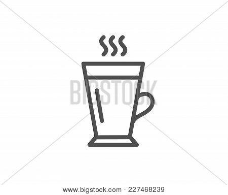 Latte Line Icon. Hot Coffee Or Tea Sign. Fresh Beverage Symbol. Quality Design Element. Editable Str