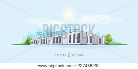 Vector Illustration Of Large Rechargeable Lithium-ion Battery Energy Storage Stationary For Renewabl