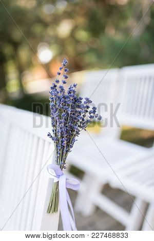 Lavender Flowers. Backrest Of A Chair Decorated With A Bouquet Of Lavender. Wedding Chair Decorated