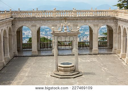Monte Cassino, Italy - June 17, 2017: Cistern In The Cloister Of Bramante, Benedictine Abbey Of Mont