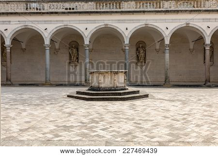 Monte Cassino, Italy - June 17, 2017: Cloister Of Benedictine Abbey Of Monte Cassino. Italy