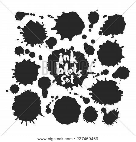 Set Of Various Black Blots. Hand Made Inky Artwork. Isolated On White Background. Clipping Paths Inc
