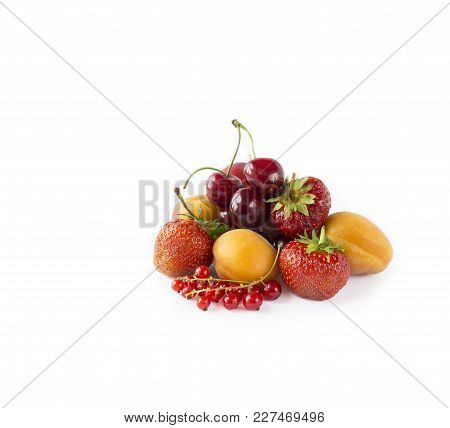 Mix Berries And Fruits Isolated On White. Berries And Fruits With Copy Space For Text. Ripe Strawber