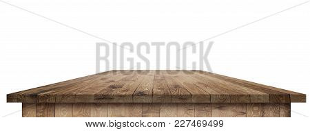 Empty Wooden Table Perspective With Clipping Mask For Product Placement Or Montage With Focus To Tab