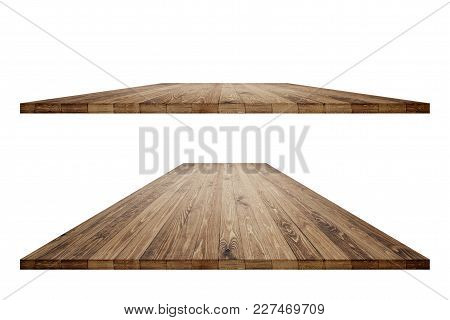 Rustic Wooden Table Vintage Style With Clipping Mask In Perspective View For Product Placement Or Mo