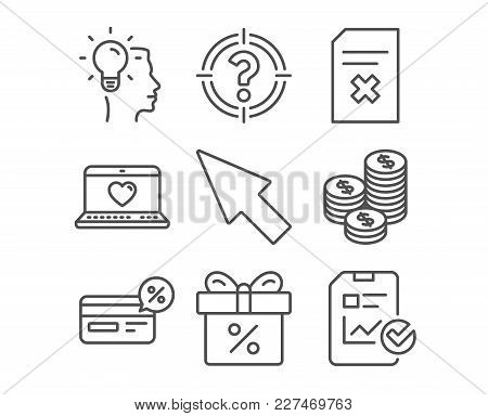 Set Of Idea, Mouse Cursor And Delete File Icons. Web Love, Cashback And Discount Offer Signs. Coins,