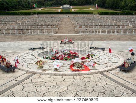 Monte Cassino, Italy - June 17, 2017: Polish War Cemetery At Monte Cassino - A Necropolis Of Polish