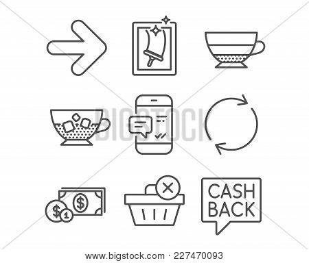 Set Of Window Cleaning, Smartphone Notification And Full Rotation Icons. Dollar Money, Americano And