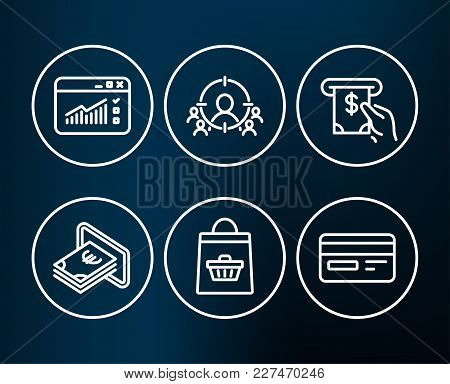 Set Of Online Buying, Cash And Web Traffic Icons. Atm Service, Business Targeting And Credit Card Si