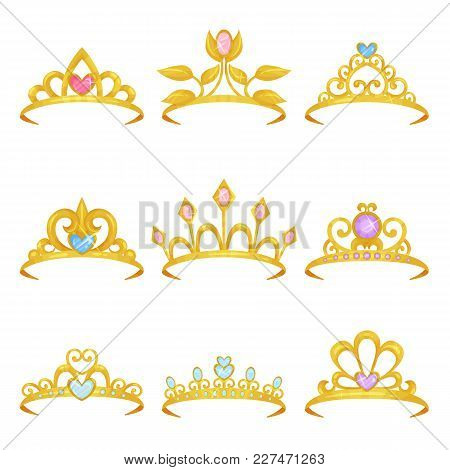 Collection Of Various Royal Crowns Decorated With Shiny Gemstones. Golden Princess Tiara. Precious W