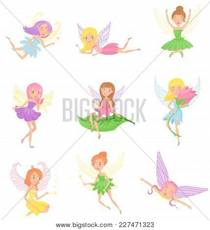 Collection Of Magic Fairies In Different Dresses. Cute Girls With Elf Ears, Colorful Hair And Little