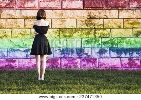 A Young Girl From The Lgbt Community Hugged Her Arms Around Her Waist And Feels Lonely And Depressed