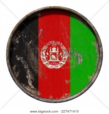 3d Rendering Of An Afghanistan Flag Over A Rusty Metallic Plate. Isolated On White Background.