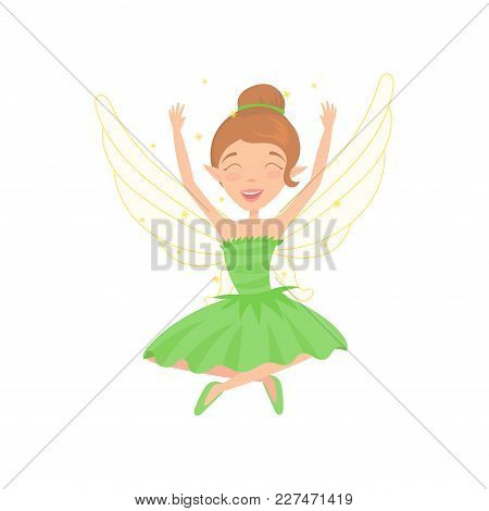 Happy Fairy Sitting With Legs Crossed And Hands Up. Cartoon Girl Character With Brown Hair Dressed I