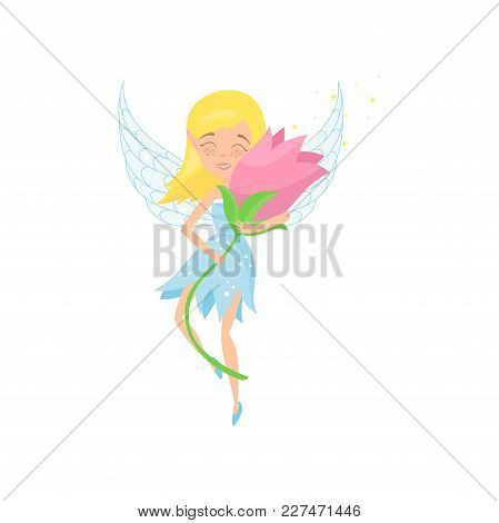 Cute Fairy In Flying Action With Beautiful Pink Flower In Hands. Cartoon Blond Girl In Blue Dress. A
