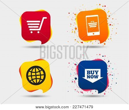 Online Shopping Icons. Smartphone, Shopping Cart, Buy Now Arrow And Internet Signs. Www Globe Symbol