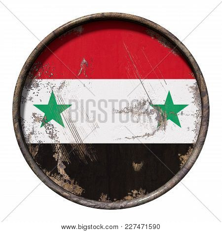 3d Rendering Of A Syria Flag Over A Rusty Metallic Plate. Isolated On White Background.