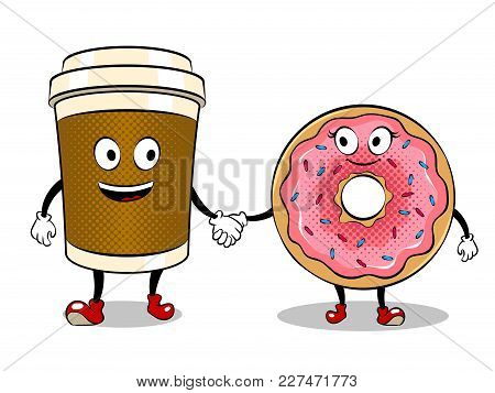 Cartoon Coffee And Donut Holding Hands Pop Art Retro Vector Illustration. Cartoon Character. Isolate