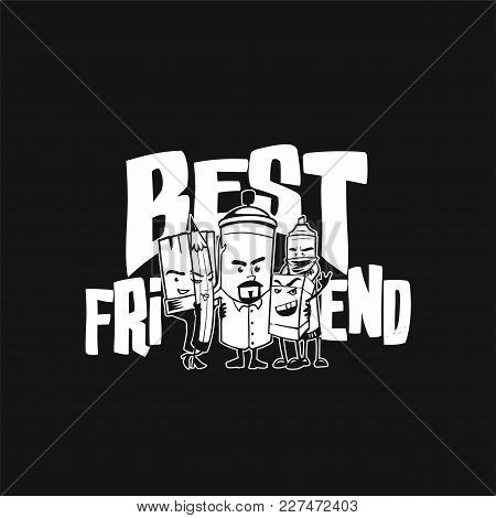 Best Friends On Black Background With Typography Vector Illustration Design