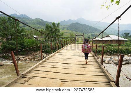Yen Bai, Vietnam - Sep 18, 2016: Vietnamese Hmong Ethnic Minority Girl Walking Home On Old Small Cha