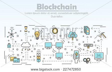 Blockchain Technology Advertising Vector Illustration. Blockchain For Business Ad Concept. Thin Line