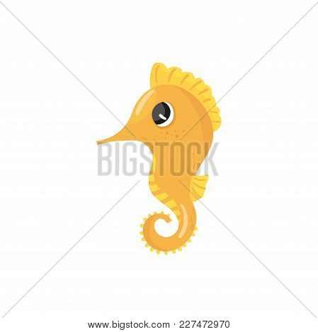 Cartoon Character Of Yellow Seahorse. Tropical Sea Creature. Small Marine Fish With Curled Tail. Con