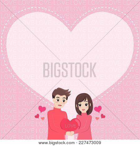 White Hearts Text Love Balloon On Pink Background Cute Cartoon Character Couple Falling In Love For