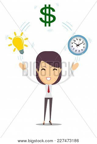 Flat Design Vector Illustration Of Young Business Woman Shows Converting Of Idea Into Money. Time Ma