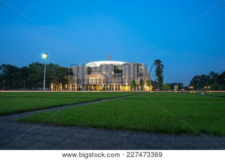 Hanoi, Vietnam - Sep 26, 2016: New National Assembly Building In Ba Dinh Square Viewing From Ho Chi