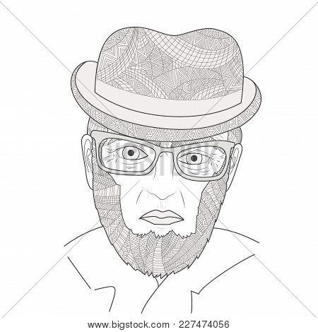 The Portrait Of Mature Men Zen Tangle Vector Illustration. Aged Person In A Hat And Glasses. Colorin