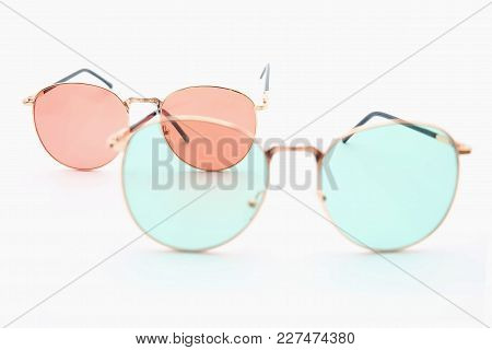Red And Bule Summer Sunglasses Isolated. Sunglasses On White Blackground.